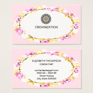 elegant soft flowers organization business card