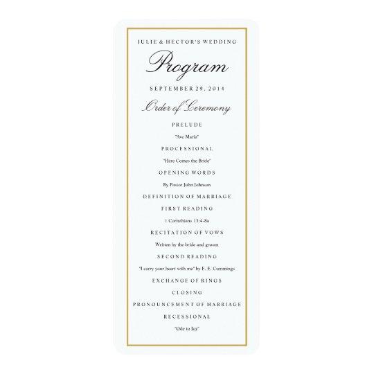 Elegant Solid Gold Border Wedding Program