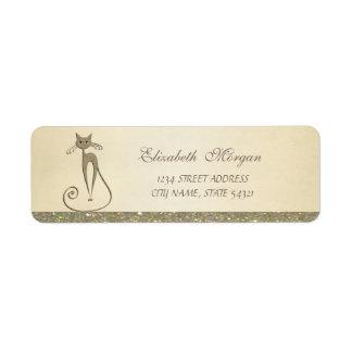 Elegant Sophisticated Glamorous ,Cat Address Label