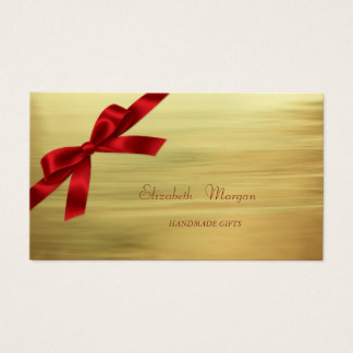 Elegant Sophisticated Modern Faux Gold,Red Bow Business Card