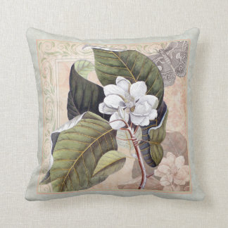 Elegant Southern Belle Magnolia Blossom Throw Pillow