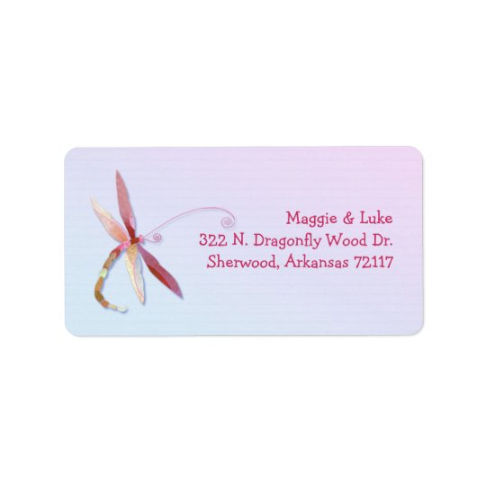 Elegant Southern Dragonfly Wedding Address Labels