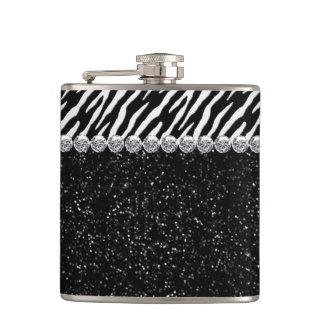 Elegant Sparkle Black Zebra Flasks