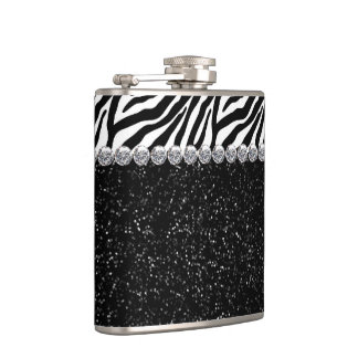 Elegant Sparkle Black Zebra Hip Flasks