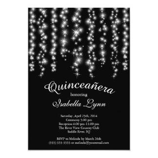 Elegant Sparkling Lights Quinceañera Party Card