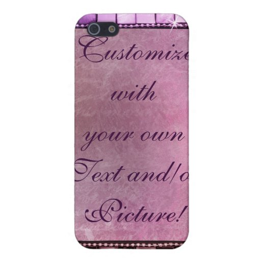 Elegant Sparkling Purple Custom Frame Designs Covers For iPhone 5