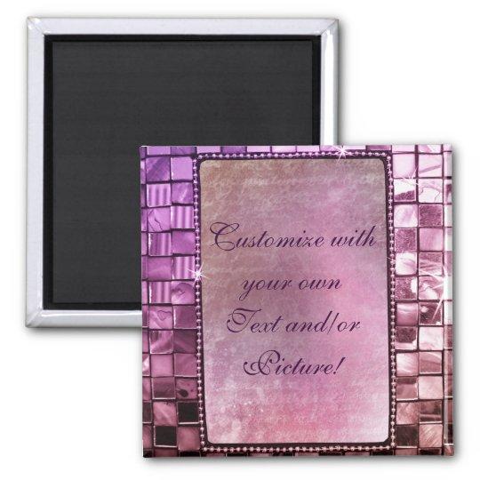 Elegant Sparkling Purple Custom Frame Designs Square Magnet