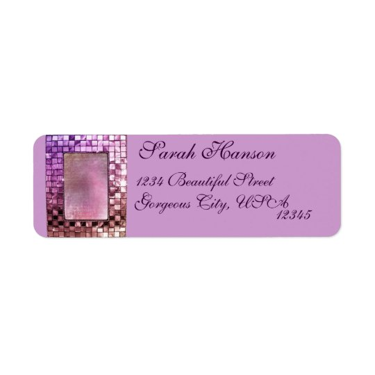 Elegant Sparkling Purple Frame Custom Label Return Address Label