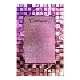 Elegant Sparkling Purple Frame Custom Stationery