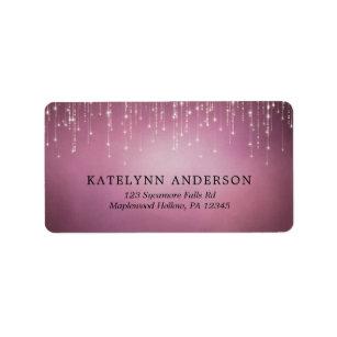 Elegant Sparkling String Lights Cranberry Wedding Label