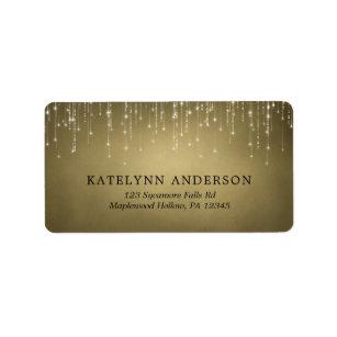 Elegant Sparkling String Lights Gold Wedding Label