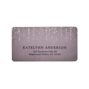 Elegant Sparkling String Lights Mauve Wedding Label