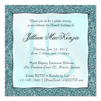 Elegant Sparkling Teal Sweet 15 Glitter Invite