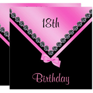 Elegant Sparkly Diamonds & Pink Bow 18th Birthday Card