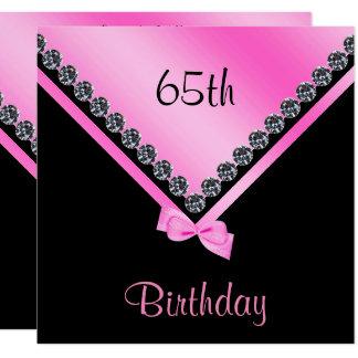 Elegant Sparkly Diamonds & Pink Bow 65th Birthday Card