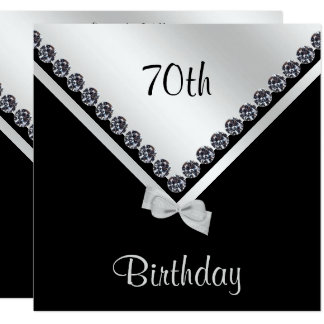Elegant Sparkly Diamonds & Silver Bow 70th Card