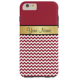 Elegant Spicy Red & White Zigzag Chevron Tough iPhone 6 Plus Case