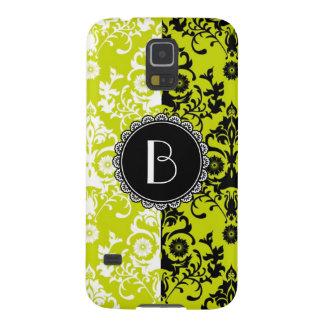 Elegant Split Damask Pattern with Monogram Galaxy S5 Case