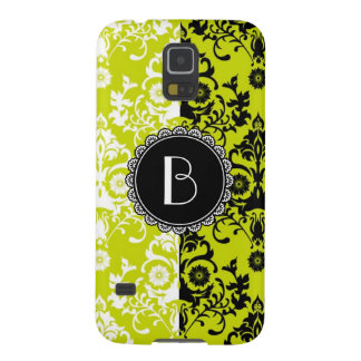 Elegant Split Damask Pattern with Monogram Galaxy S5 Cover