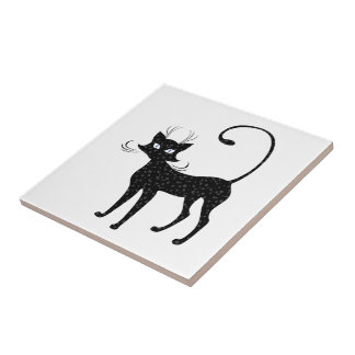 Elegant Spotted Black Cat Small Square Tile