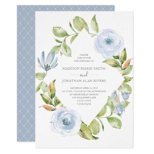 Elegant Spring Floral Diamond Dusty Blue Wedding Invitation