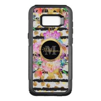Elegant spring flowers and stripes design OtterBox commuter samsung galaxy s8+ case
