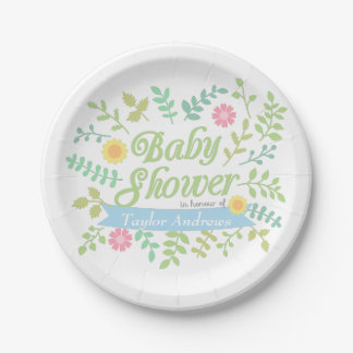 Elegant Spring Leaves Floral Wreath Baby Shower 7 Inch Paper Plate