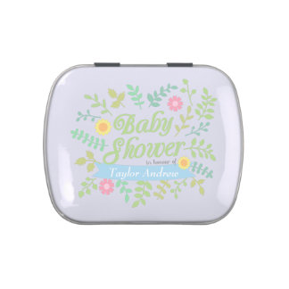 Elegant Spring Leaves Floral Wreath Baby Shower Jelly Belly Tins