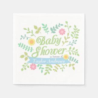 Elegant Spring Leaves Floral Wreath Baby Shower Standard Cocktail Napkin
