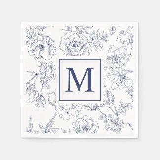 Elegant Spring Roses Monogram   Napkin Disposable Napkin