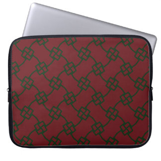 Elegant square knots on red laptop sleeve