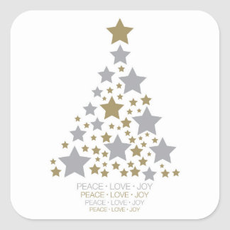 Elegant star tree square sticker