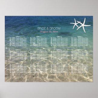 Elegant Starfish Blue Beach Wedding Seating Chart Poster