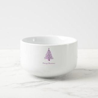 Elegant Starry Decorative Pink Christmas Tree Soup Mug