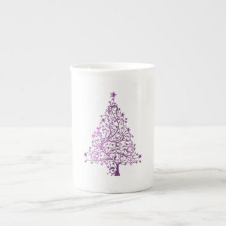 Elegant Starry Decorative Pink Christmas Tree Tea Cup