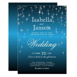 Elegant Starry Night Wedding in Sky Blue 13 Cm X 18 Cm Invitation Card