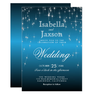 Elegant Starry Night Wedding in Sky Blue Card