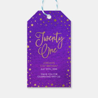 Elegant Starry Purple Watercolor 21st Birthday Gift Tags