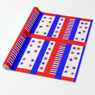 Elegant Stars and Stripes Pattern USA Flag Colors Wrapping Paper