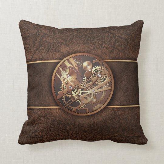 elegant steampunk gears gold brown cushion