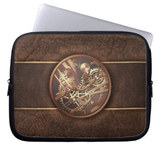 elegant steampunk gears gold brown laptop sleeve