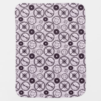 elegant Steampunk watch gear and damask pattern Baby Blanket
