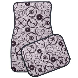 Elegant Steampunk watch gear and damask pattern Floor Mat