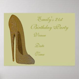 Elegant Stiletto Customisable Party Poster