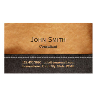 Elegant Stitched Leather Texture Business Cards