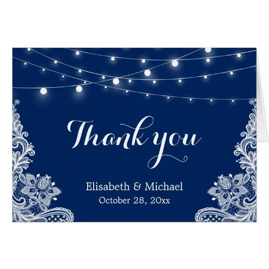 Elegant String Lights Lace Navy Blue Thank You