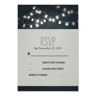 Elegant String Lights Night Stars Wedding RSVP Card