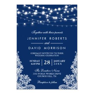 Elegant String Lights White Lace Navy Blue Wedding Card