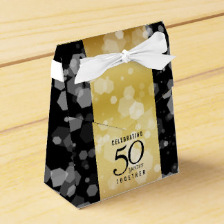 Elegant Striped 50th Golden Wedding Anniversary Favour Box