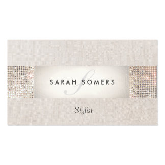 Elegant Striped Beige FAUX Silver Sequin Monogram Business Card Templates